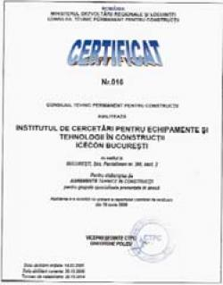 Organism notificat pentru emiterea agrementului tehnic european