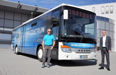 Autobuzul Setra destinat vaccinării
