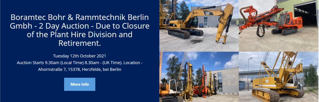 Licitatie Malcolm Harrison Auctions si CA Global Partners pentru vanzarea echipamentelor Boramtec Bohr & Rammtechnik GmbH